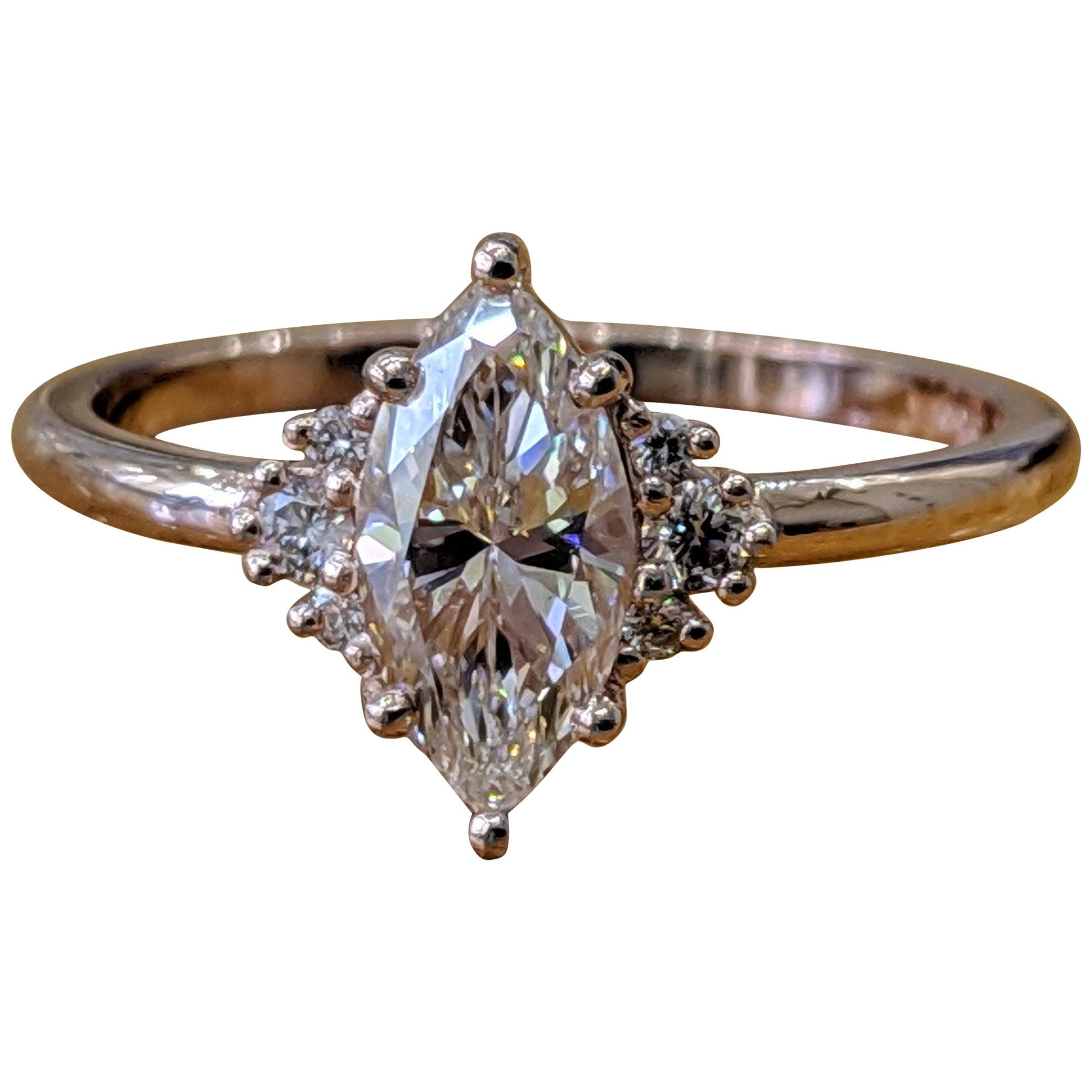 1/2 Carat 14 Karat Rose Gold Marquise Diamond Engagement Ring