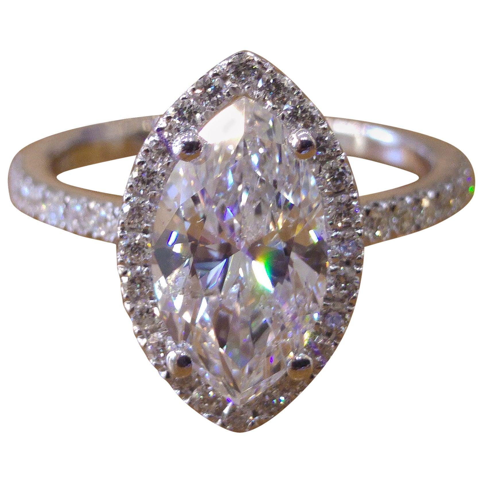 1 1/2 Carat 14 Karat White Gold Marquise Engagement Ring