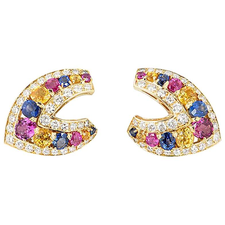 Yellow Gold Sapphire, Multi-Gem and Diamond Clip Earrings