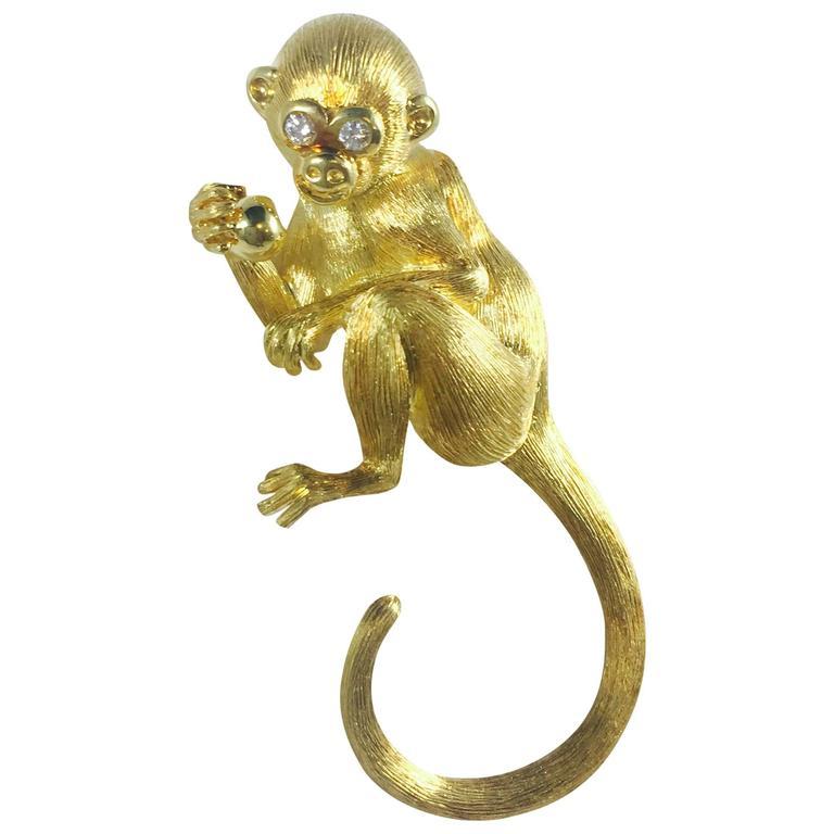Henry Dunay diamond gold Monkey Brooch For Sale