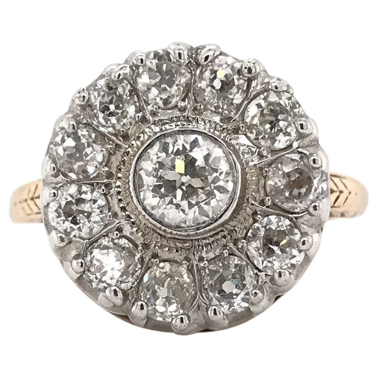 Antique Two-Toned Diamond Cluster Ring