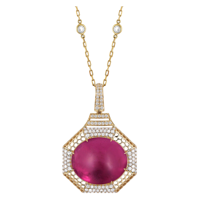 Goshwara Oval Rubelite  Cabochon And Diamond Pendant