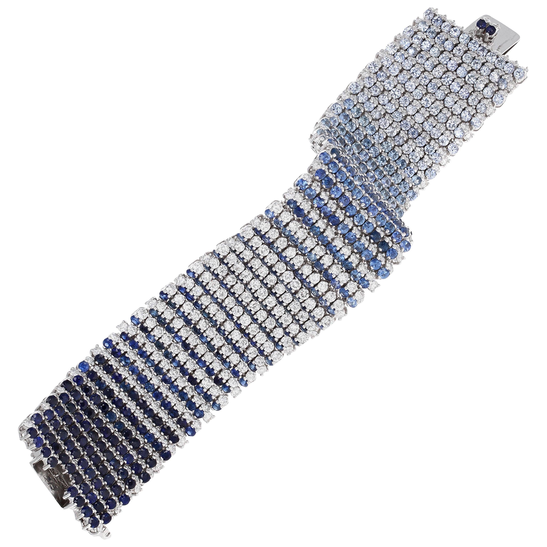 Diamond and Sapphire Ombre' Mesh Tennis Bracelet