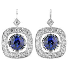 Sapphire Diamond Drop Earrings
