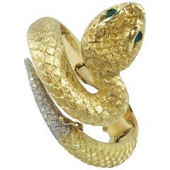 Emerald Diamond Gold Snake Bracelet