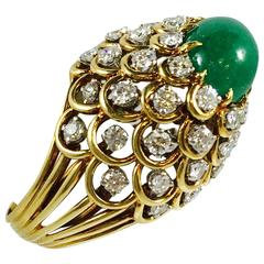 Emerald Diamond Gold Dome Ring