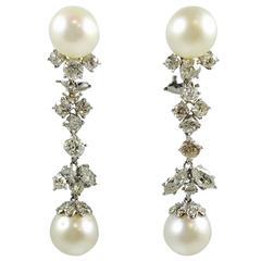 Pearl Diamond Platinum Dangle Earrings