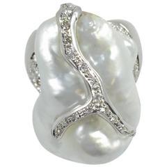 Baroque Pearl Diamond Gold Ring