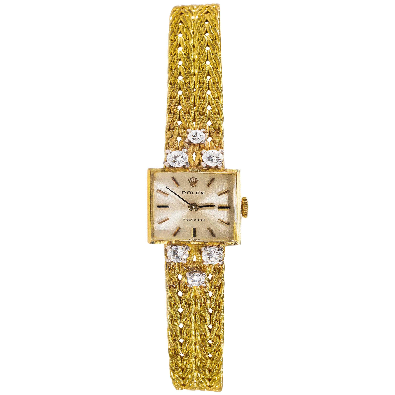 1970s Rolex 18 Karat Yellow Gold Diamond Set Foliate Leaf Design Bracelet Watch