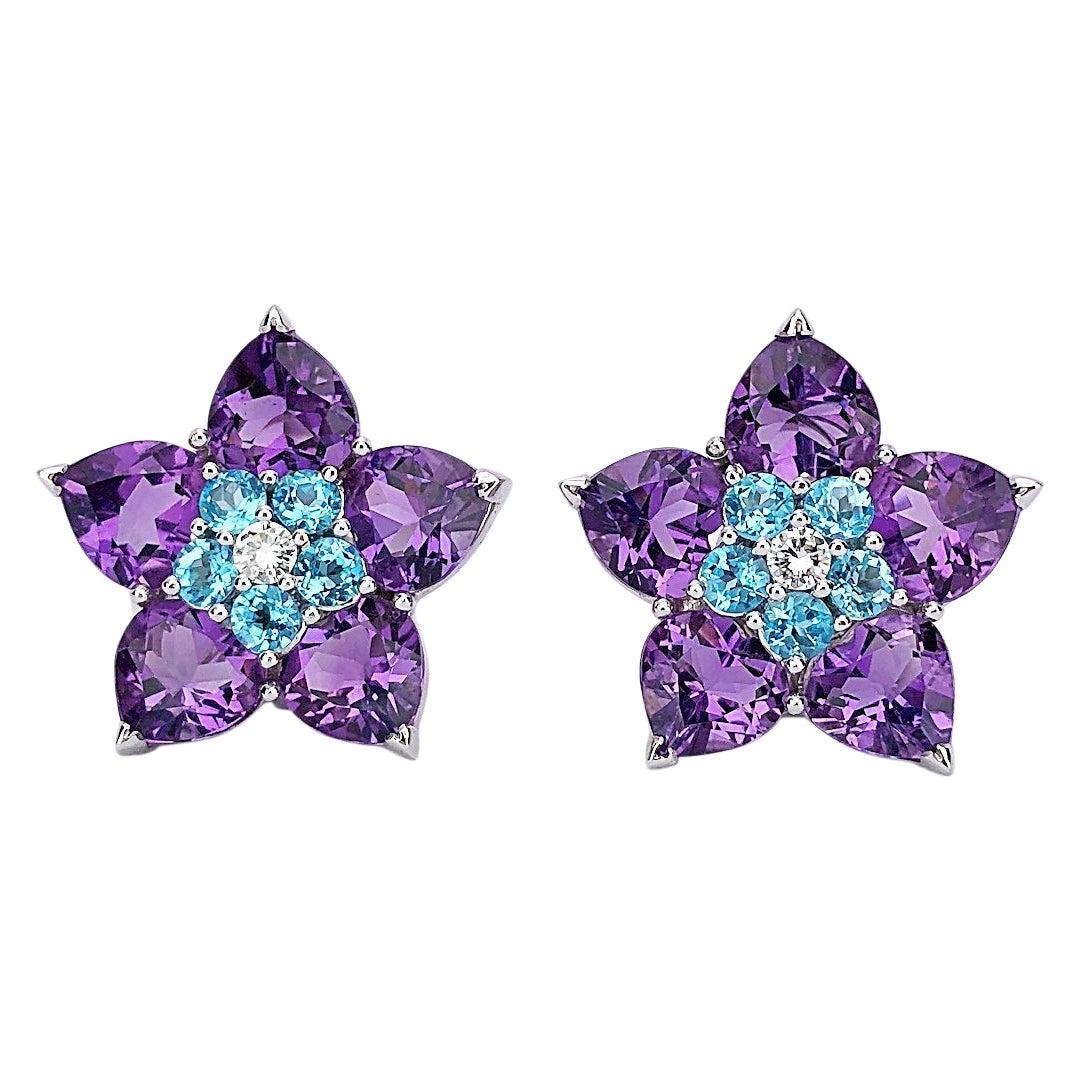 Cellini 18KT WG Flower Earrings with 16 Carat Amethyst, Diamond and Blue Topaz