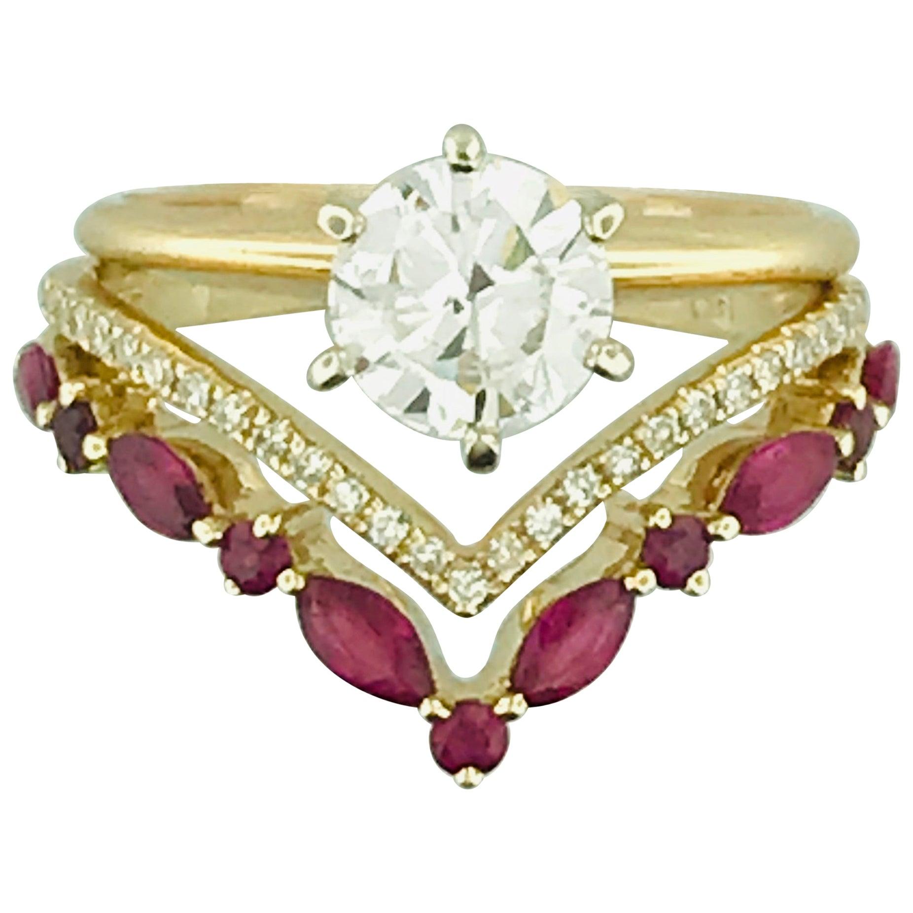 Diamond and Ruby V Ring