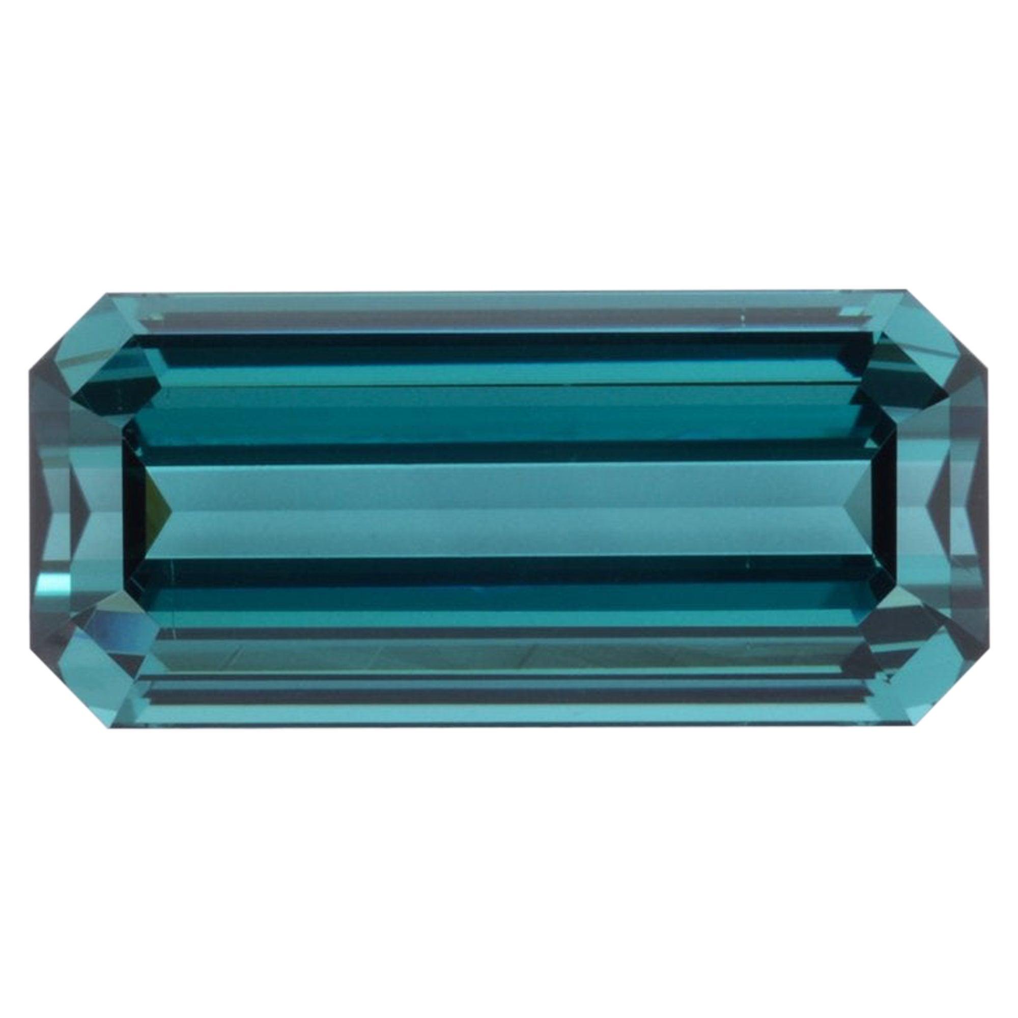 Blue Green Tourmaline Ring Gem 9.64 Carat Unset Emerald Cut Loose Gemstone
