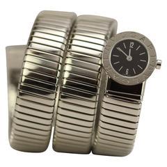 Bulgari Bvlgari Lady's Stainless Steel Serpenti Bracelet Watch circa 1990s