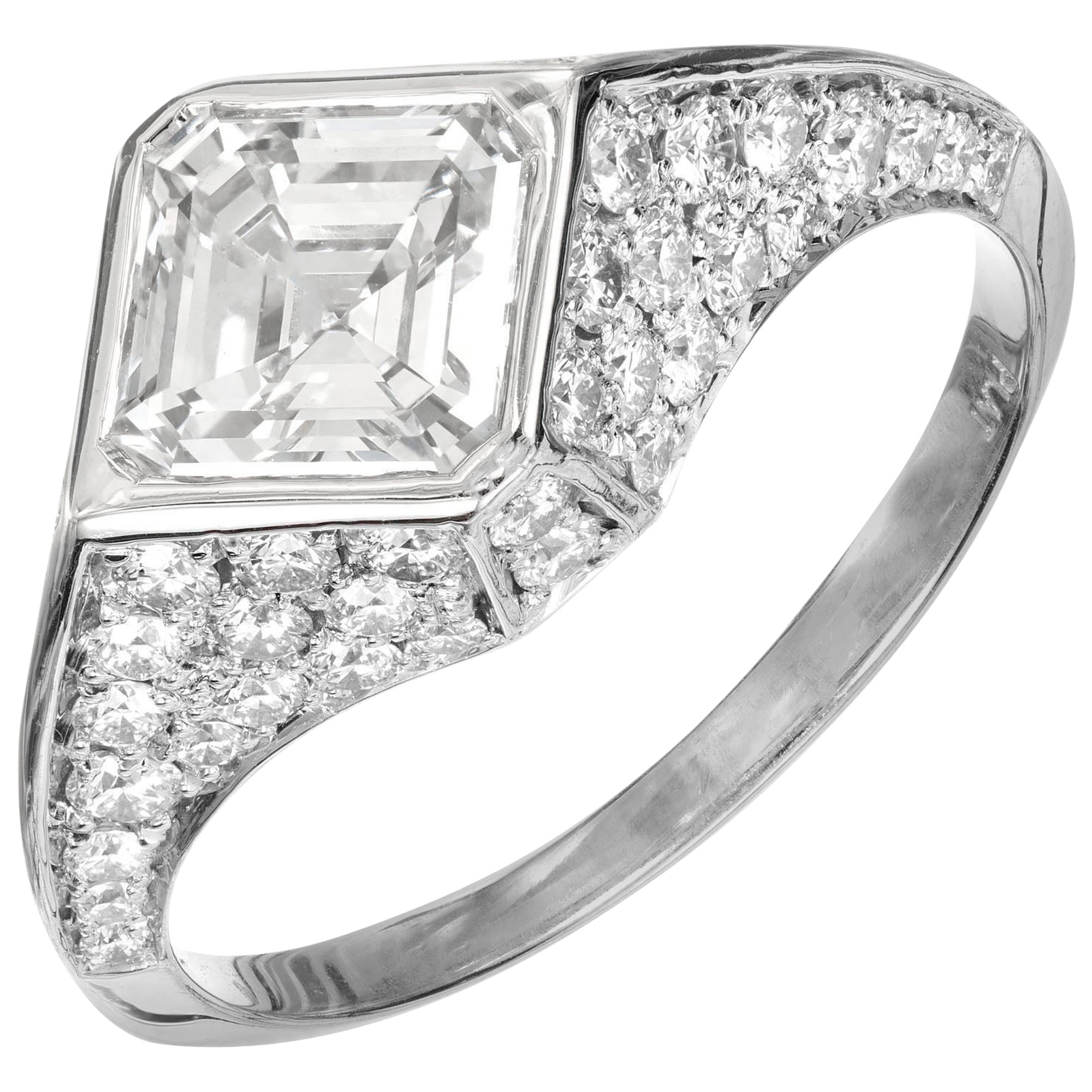 Peter Suchy GIA Certified 1.41 Carat Diamond Platinum Engagement Ring