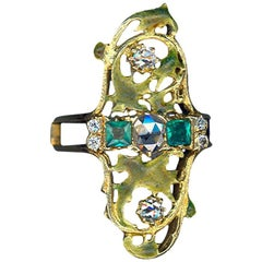 Art Nouveau Emerald and Diamond Gold Ring
