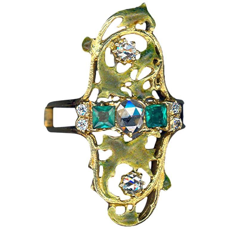 Art Nouveau Emerald and Diamond Gold Ring