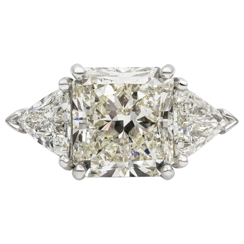 GIA Certified 6.90 Carat Radiant Cut Diamond Three-Stone Engagement Ring