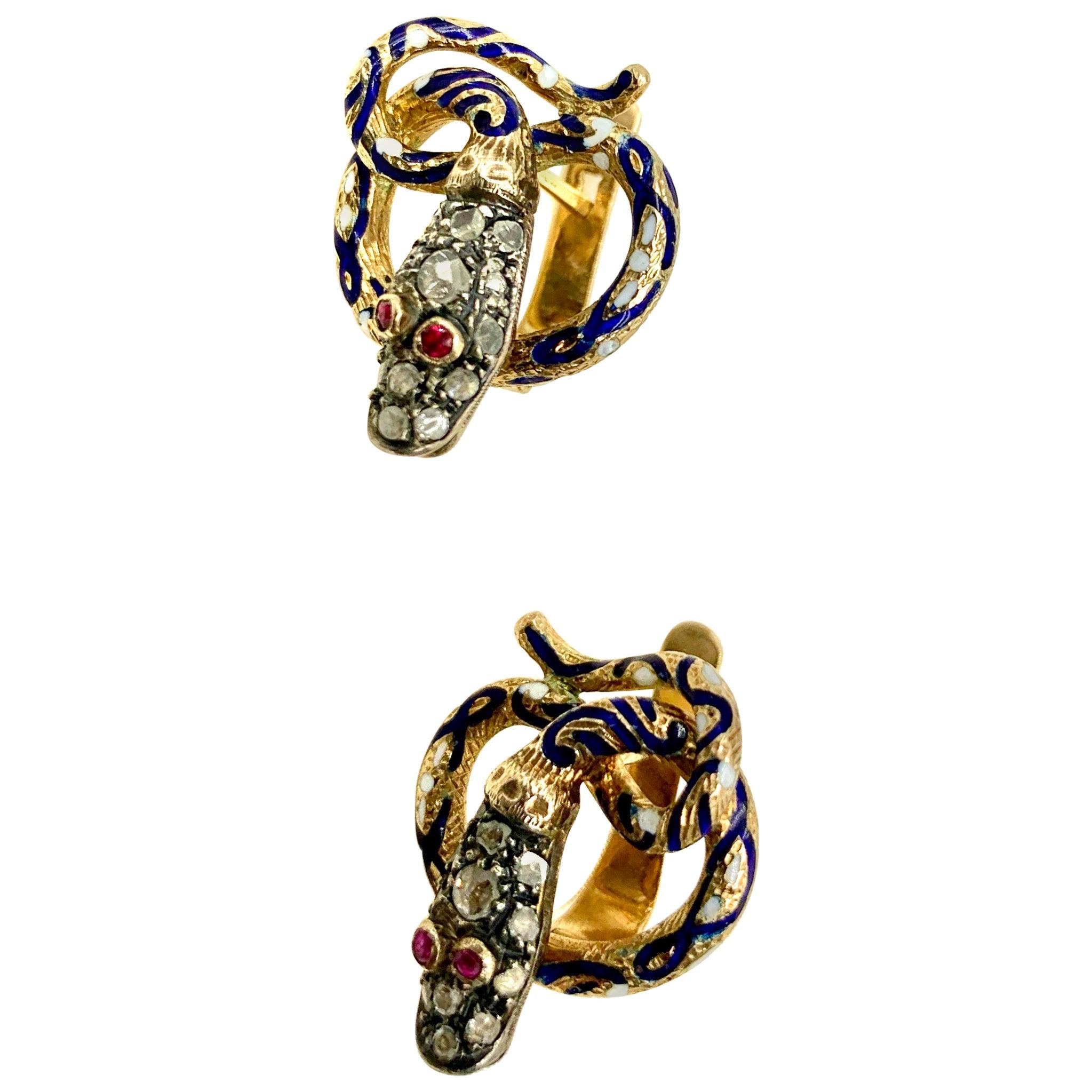 Antique Snake Earrings, Diamonds, Rubies, Enamel and 14 Karat Yellow Gold