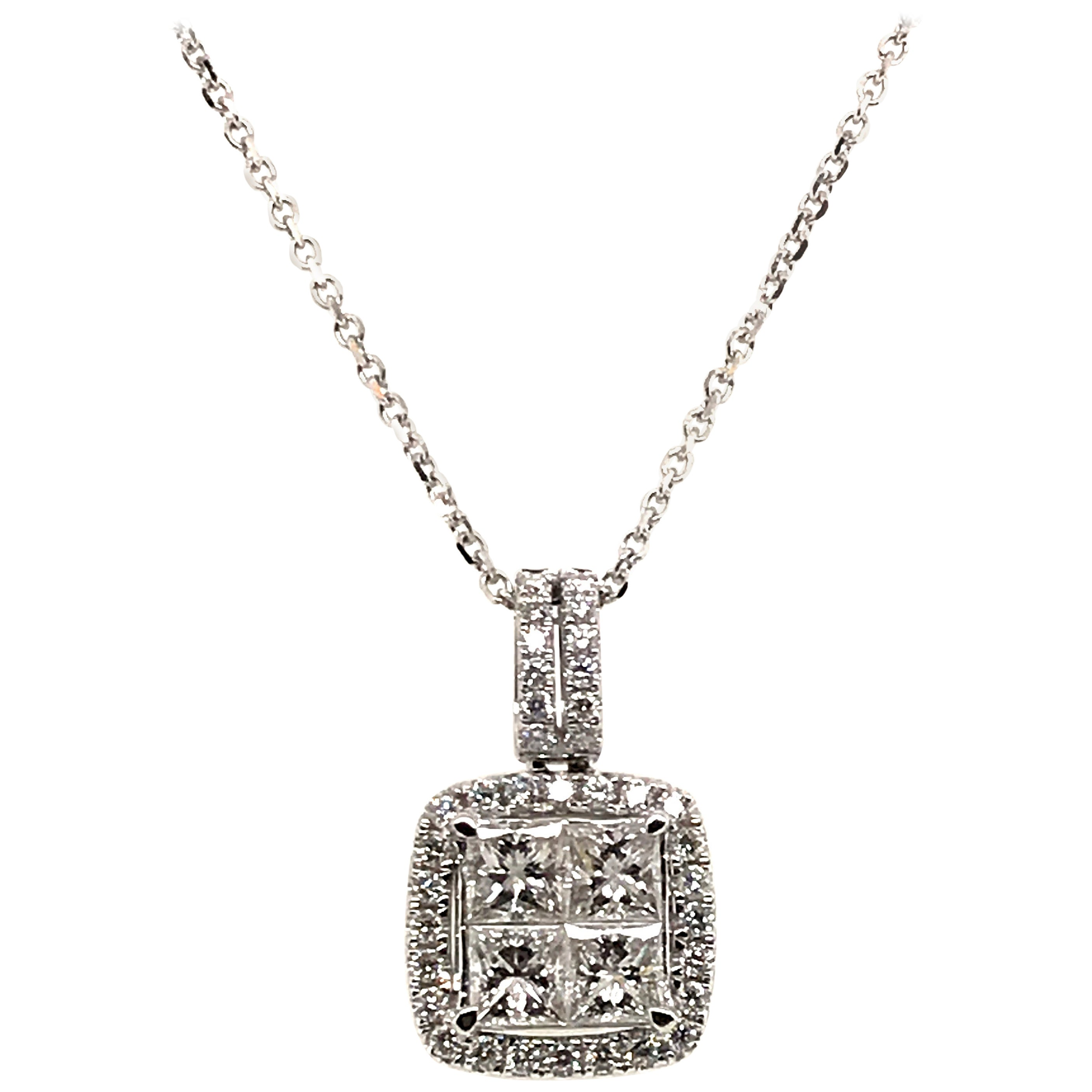 1.06 Carat Princess Cluster with Rounds Diamond Pendant