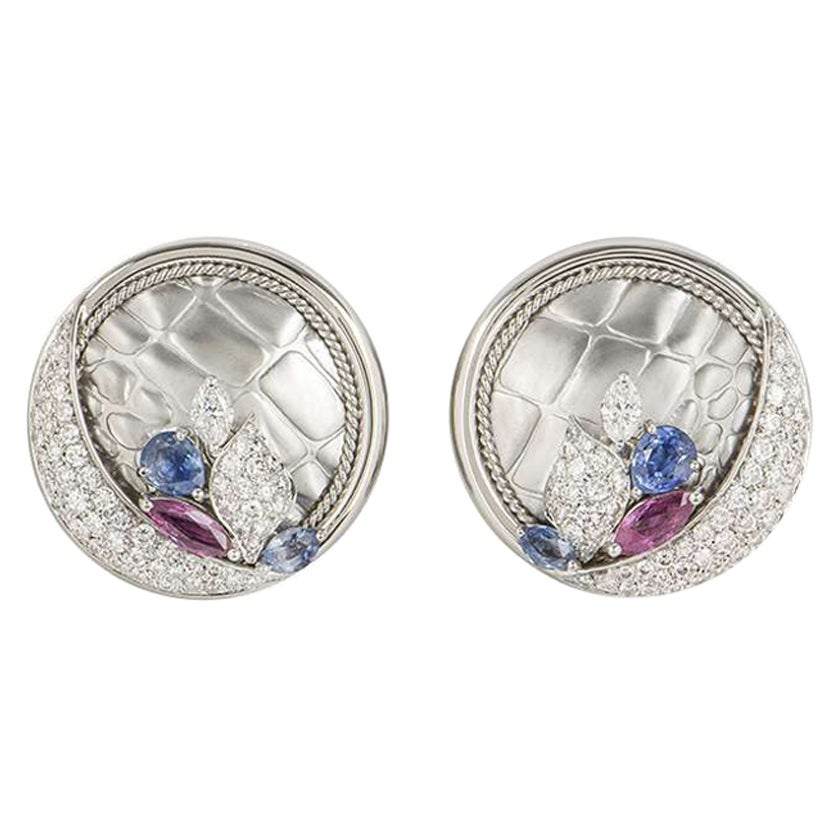 White Gold Diamond, Ruby and Sapphire Earrings 3.04 Carat