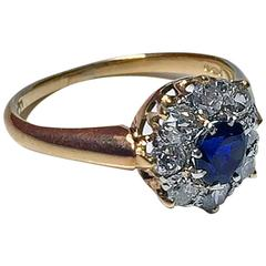 Antique English Sapphire Diamond Gold Ring
