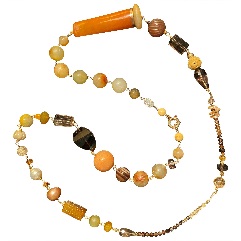 Jade Long Gemstone Statement Necklace in 18 Karat Gold