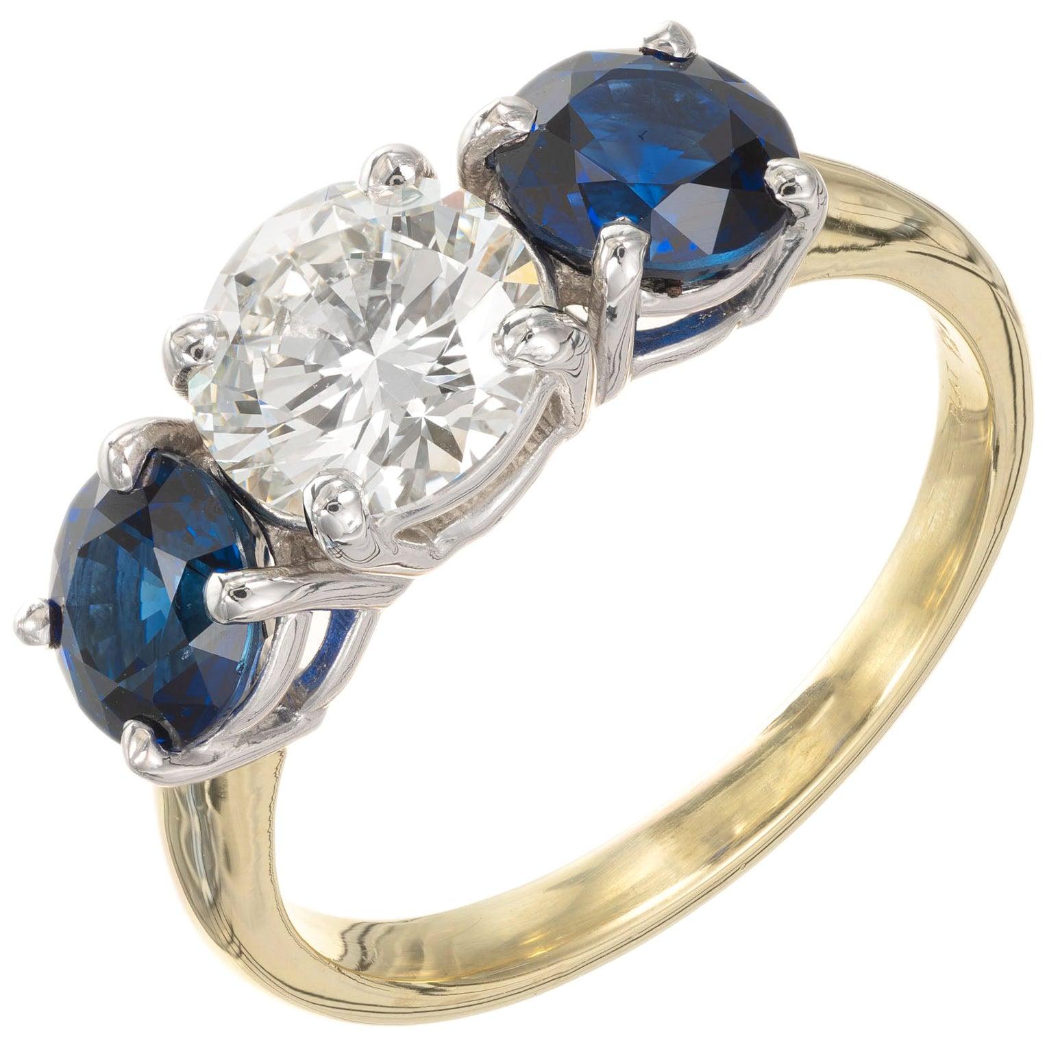Peter Suchy GIA 3.31 Carat Diamond Sapphire Gold Platinum Engagement Ring