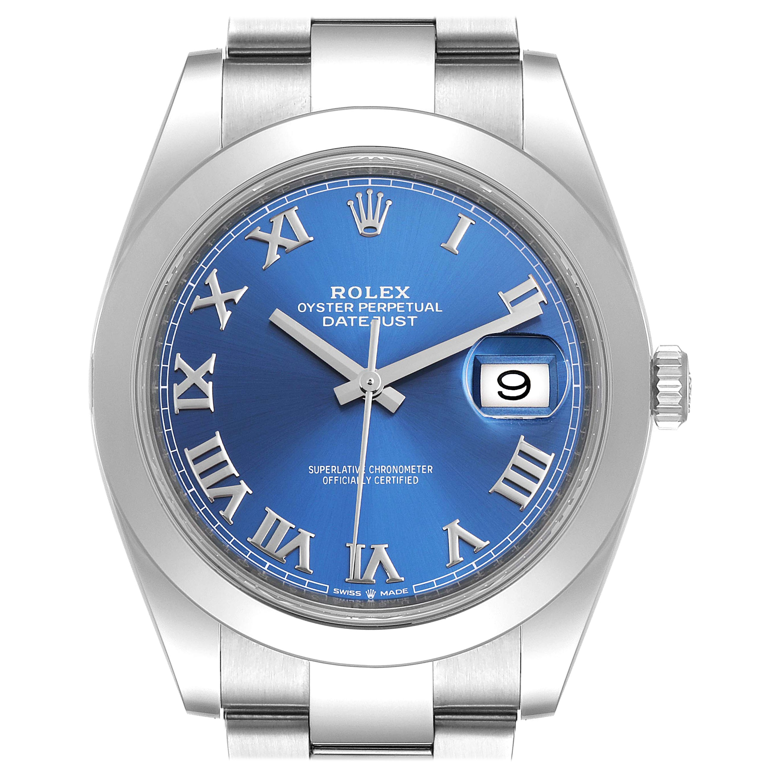 Rolex Datejust 41 Blue Dial Steel Men's Watch 126300 Box Card