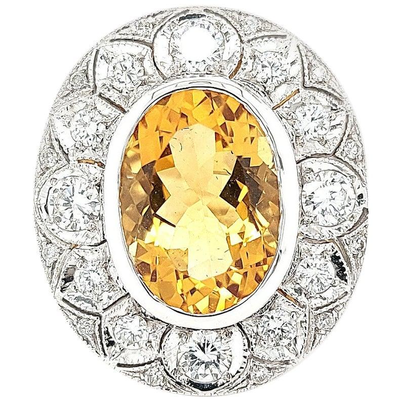 18 Karat White Gold Citrine and Diamonds Cocktail Ring