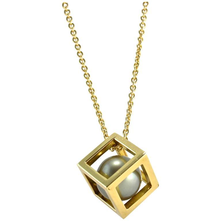 Jona tahitian pearl gold cube cage pendant necklace at 1stdibs jona tahitian pearl gold cube cage pendant necklace for sale aloadofball Choice Image