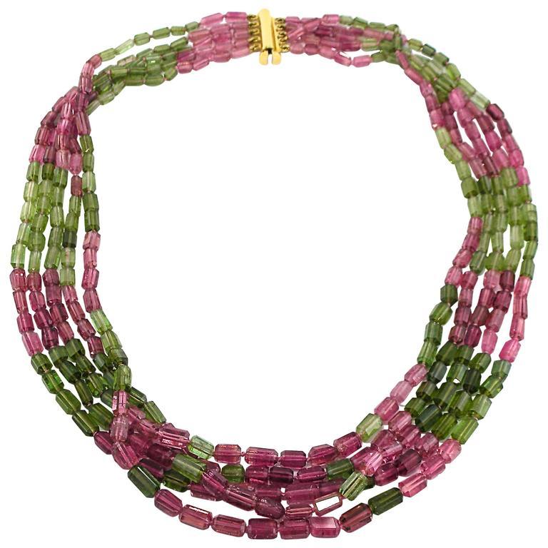 Jona Pink and Green Tourmaline 18k Gold Five Strand Necklace