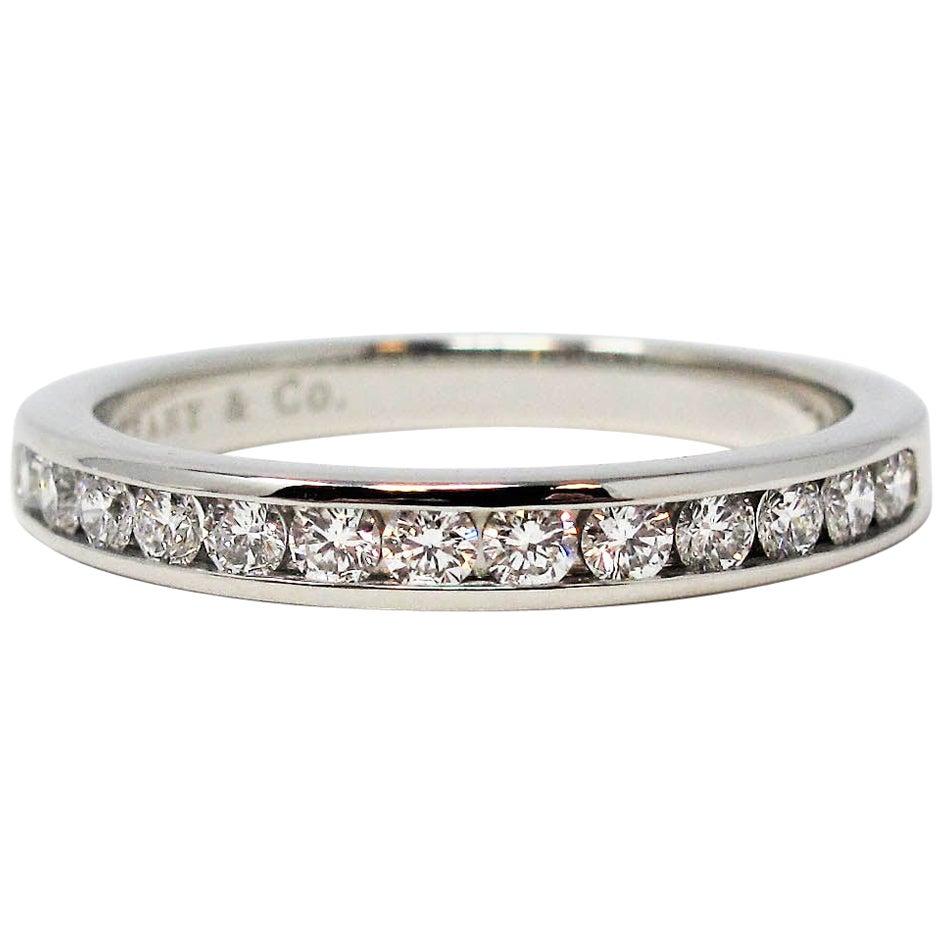 Tiffany & Co. Channel Set Semi Eternity Diamond Wedding Band Ring in Platinum