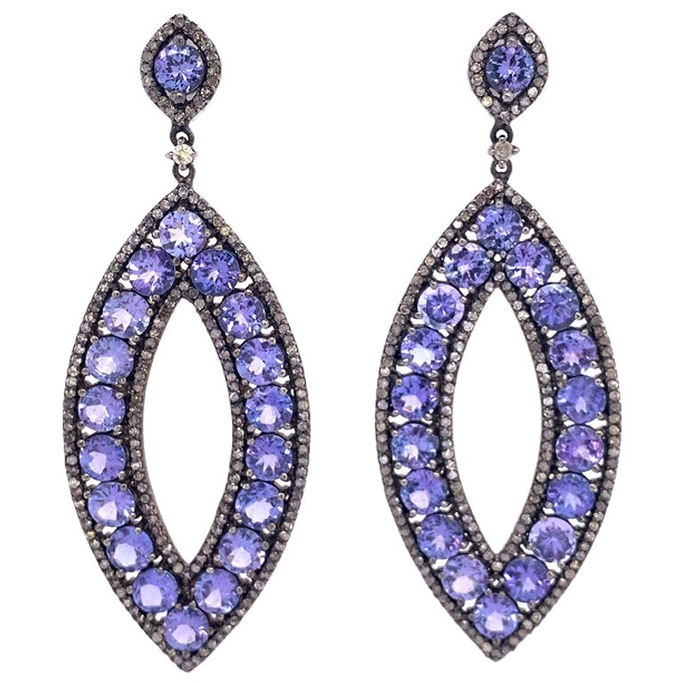 Lucea New York Tanzanite and Diamond Drop Earrings