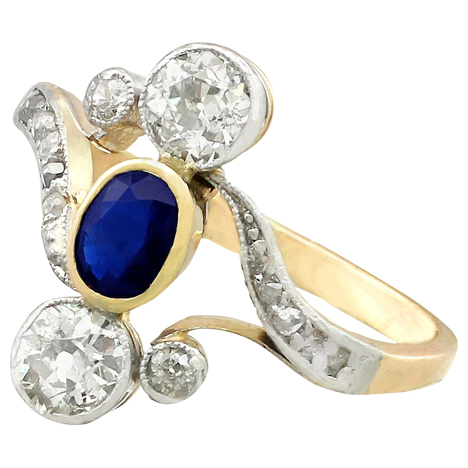 Antique 1930s Sapphire and Diamond Yellow Gold Twist Cocktail Ring