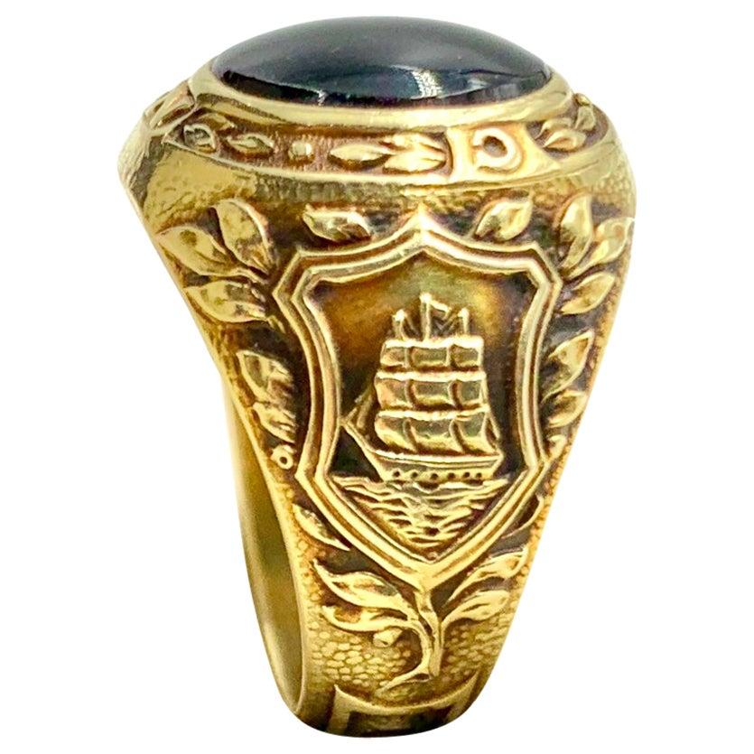 Vintage Tiffany & Co. 14 Karat Yellow Gold and Onyx Signet Ring, 1938