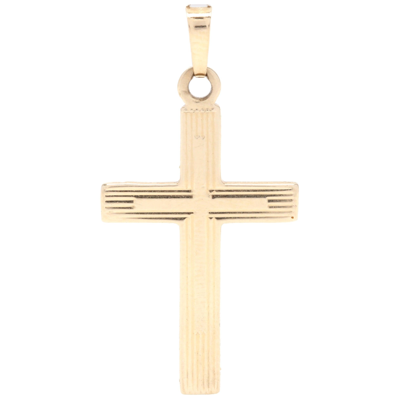 Midcentury 14 Karat Yellow Gold Cross Pendant