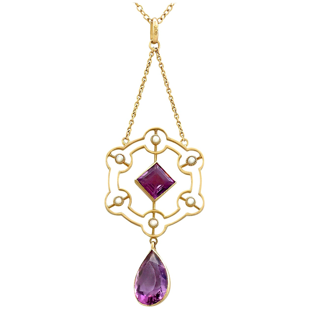Antique Victorian 2.40 Carat Amethyst and Pearl Yellow Gold Pendant