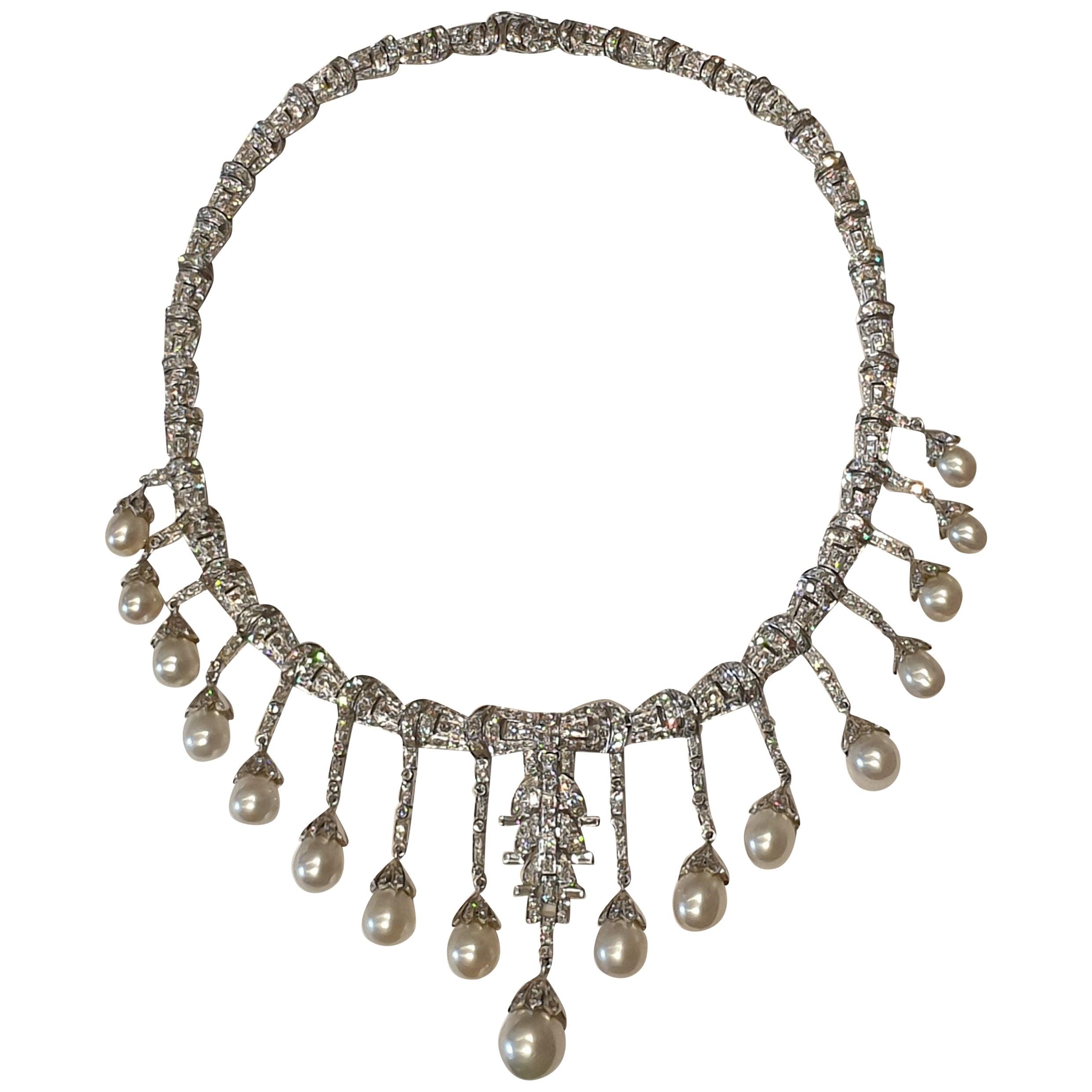 Art Deco Style Pearl Diamond White Gold Necklace