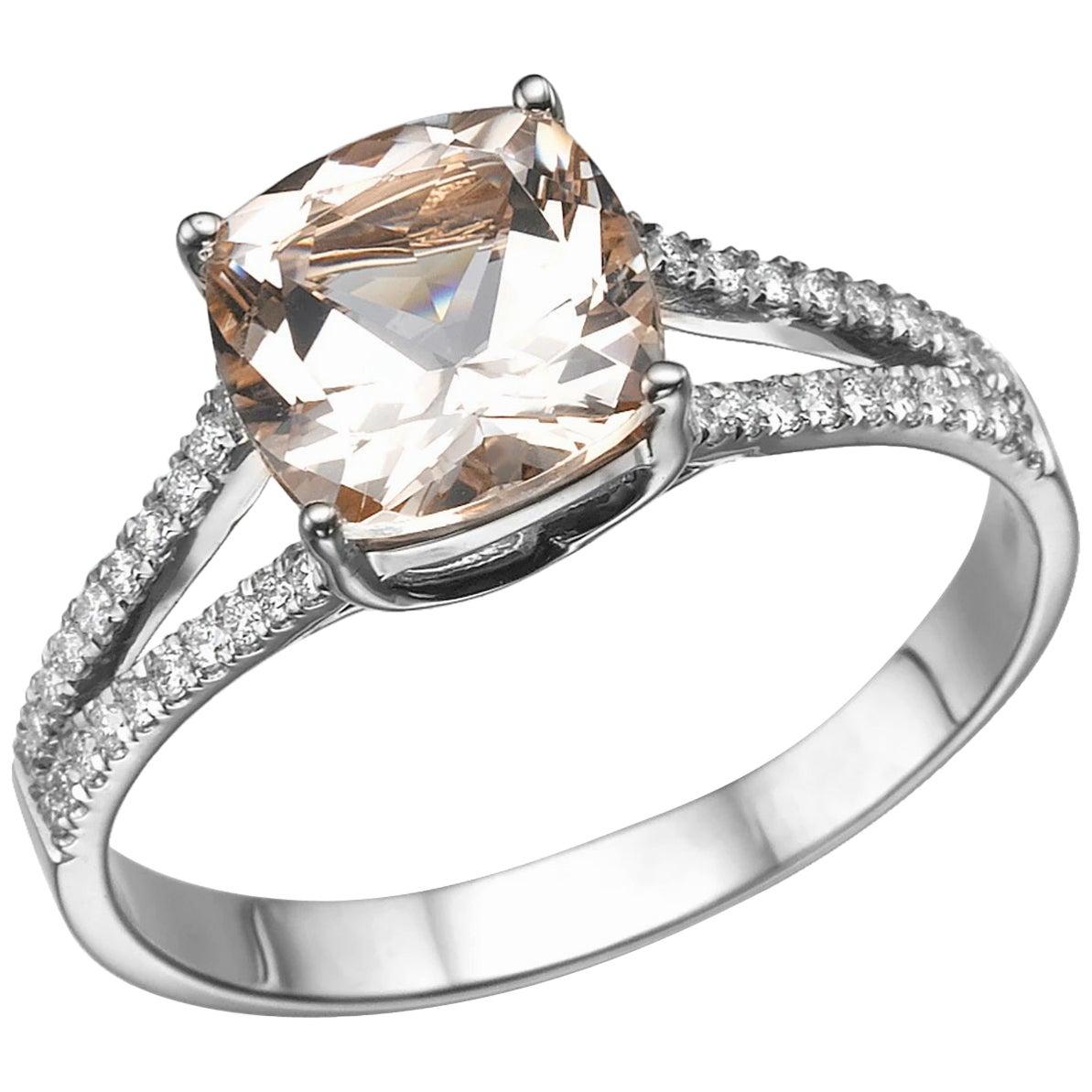 1.2 Karat 14 Karat White Gold Morganite and Diamonds Cushion Engagement Ring