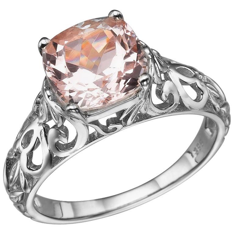 2 Carat 14 Karat White Gold Morganite Cushion Engagement Ring