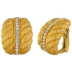 1.00 Carat Diamond Convertible Clip/Post Gold Earrings