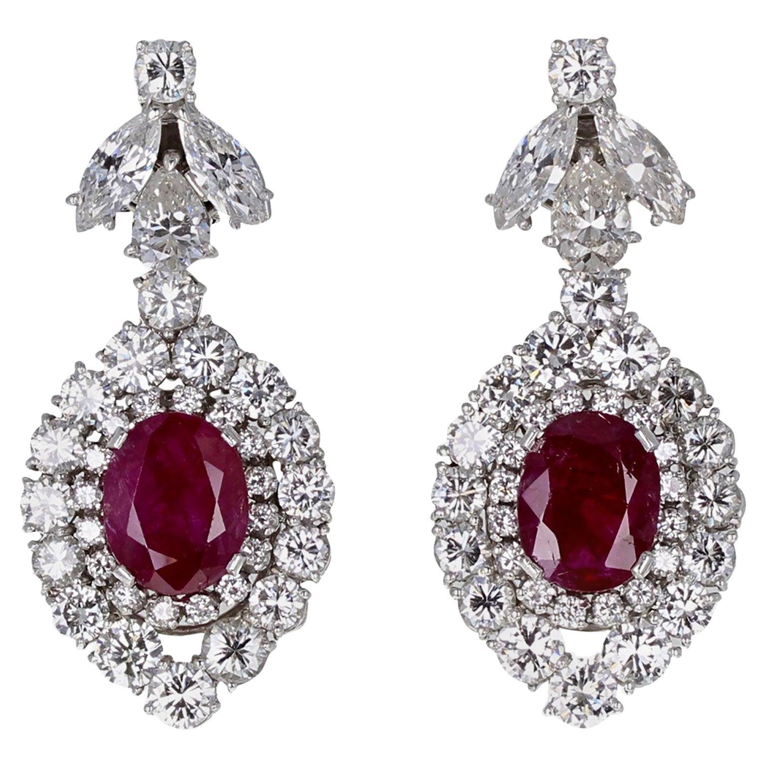 Untreated Burma Ruby Diamond Pear Shaped Cluster Ear Clips