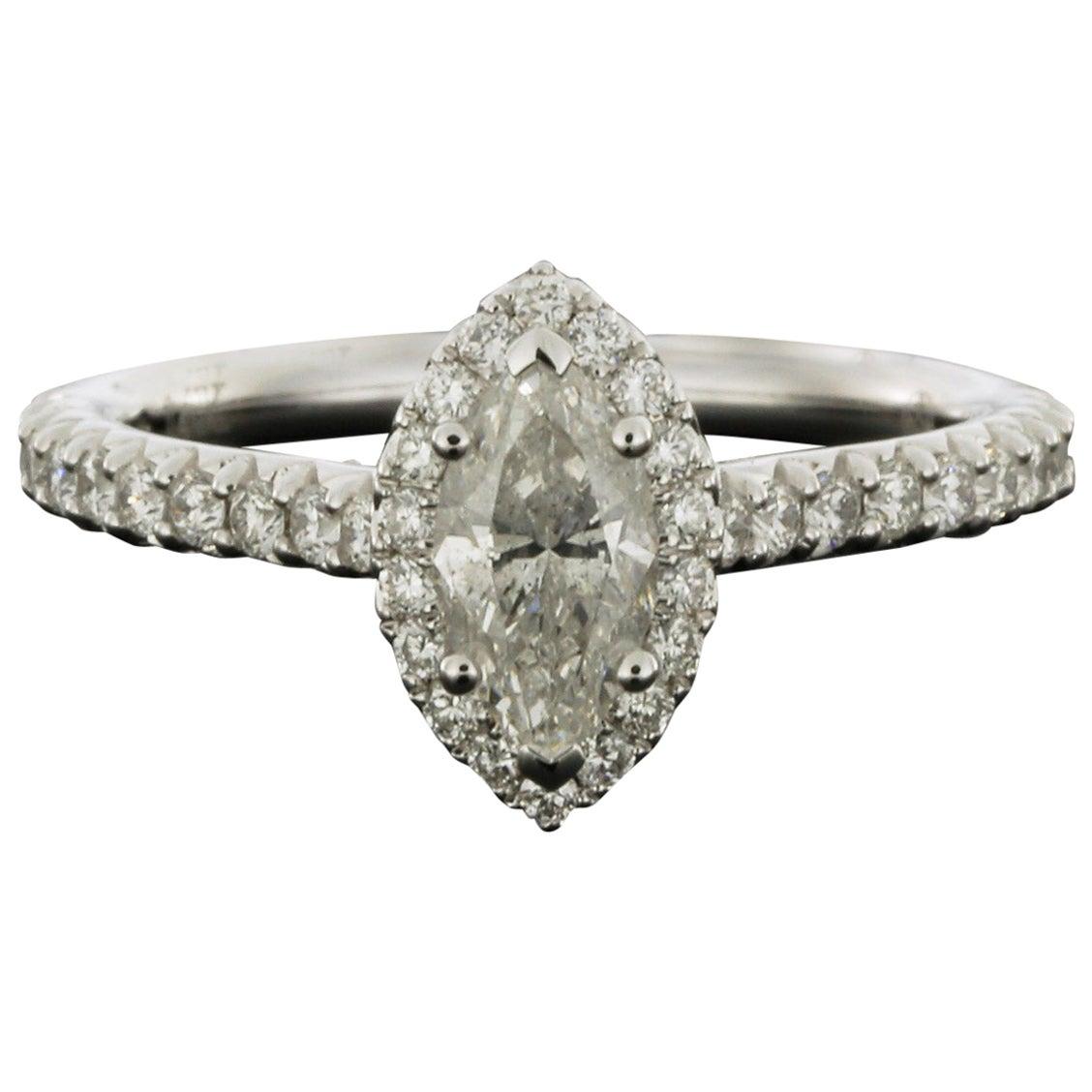 White Gold 1.25 Carat Marquise Diamond Halo Engagement Ring