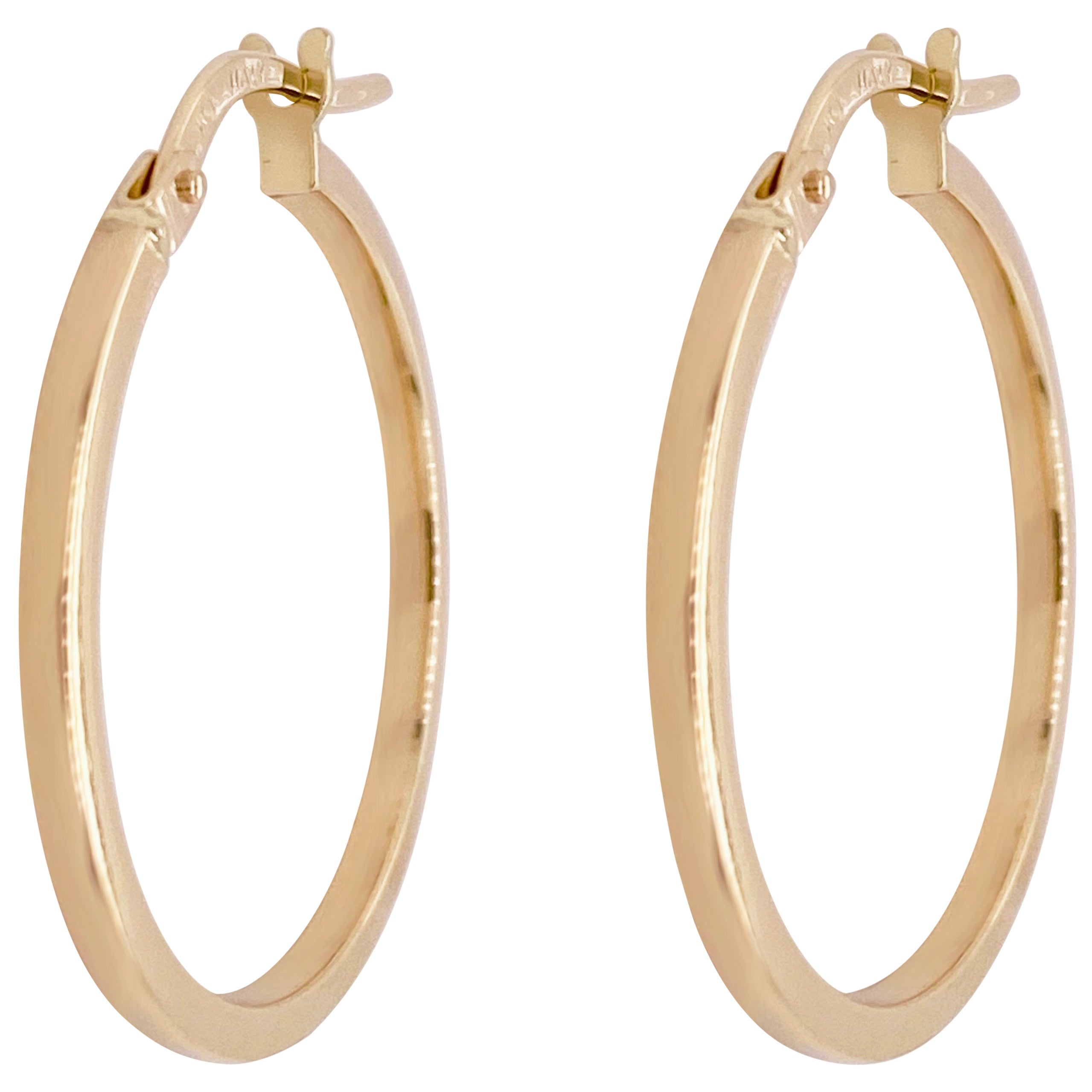 Gold Hoop Earrings, 14 Karat Yellow Gold, 14 Karat, Medium Hoops