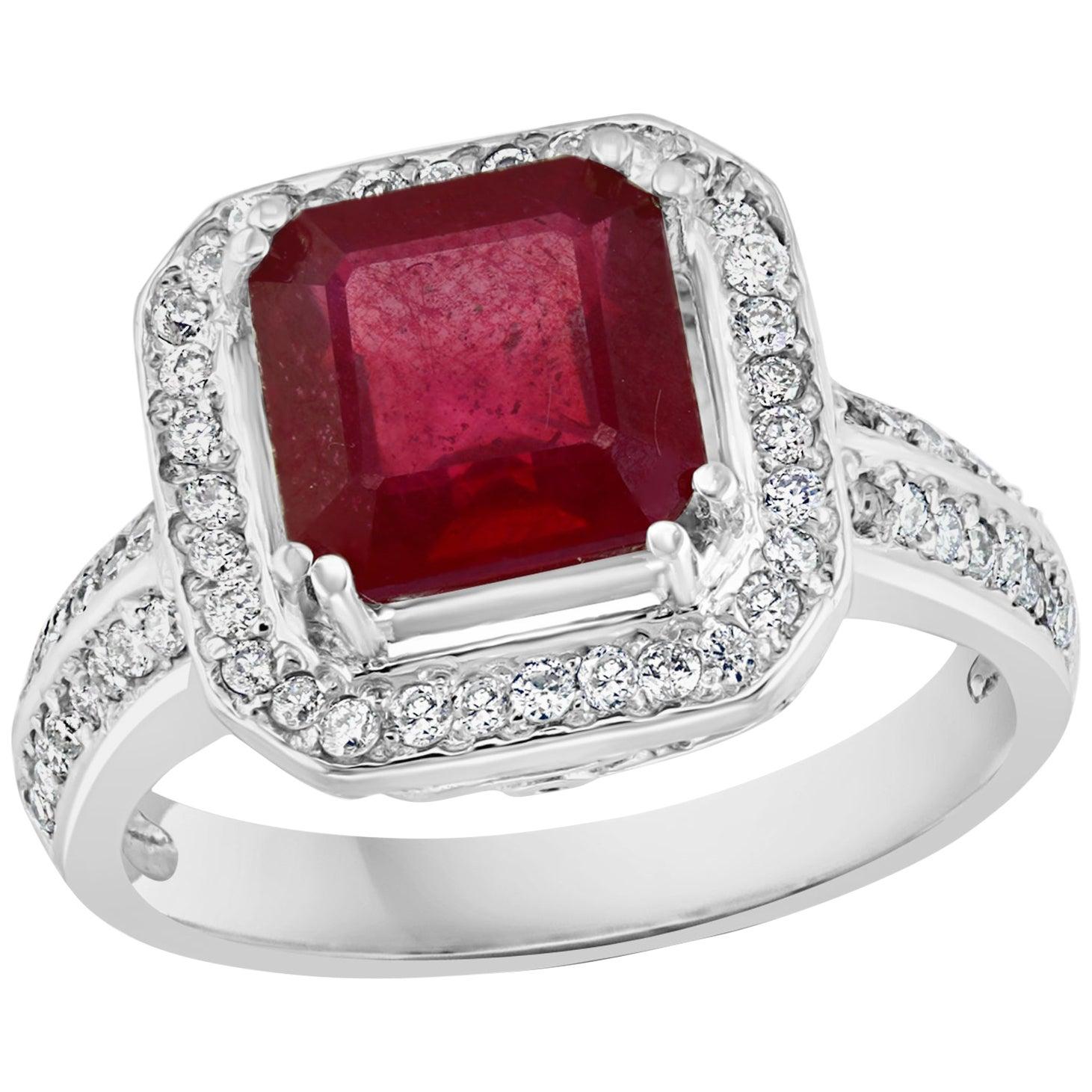 3 Carat Square Treated Ruby and Diamond 14 Karat White Gold Ring