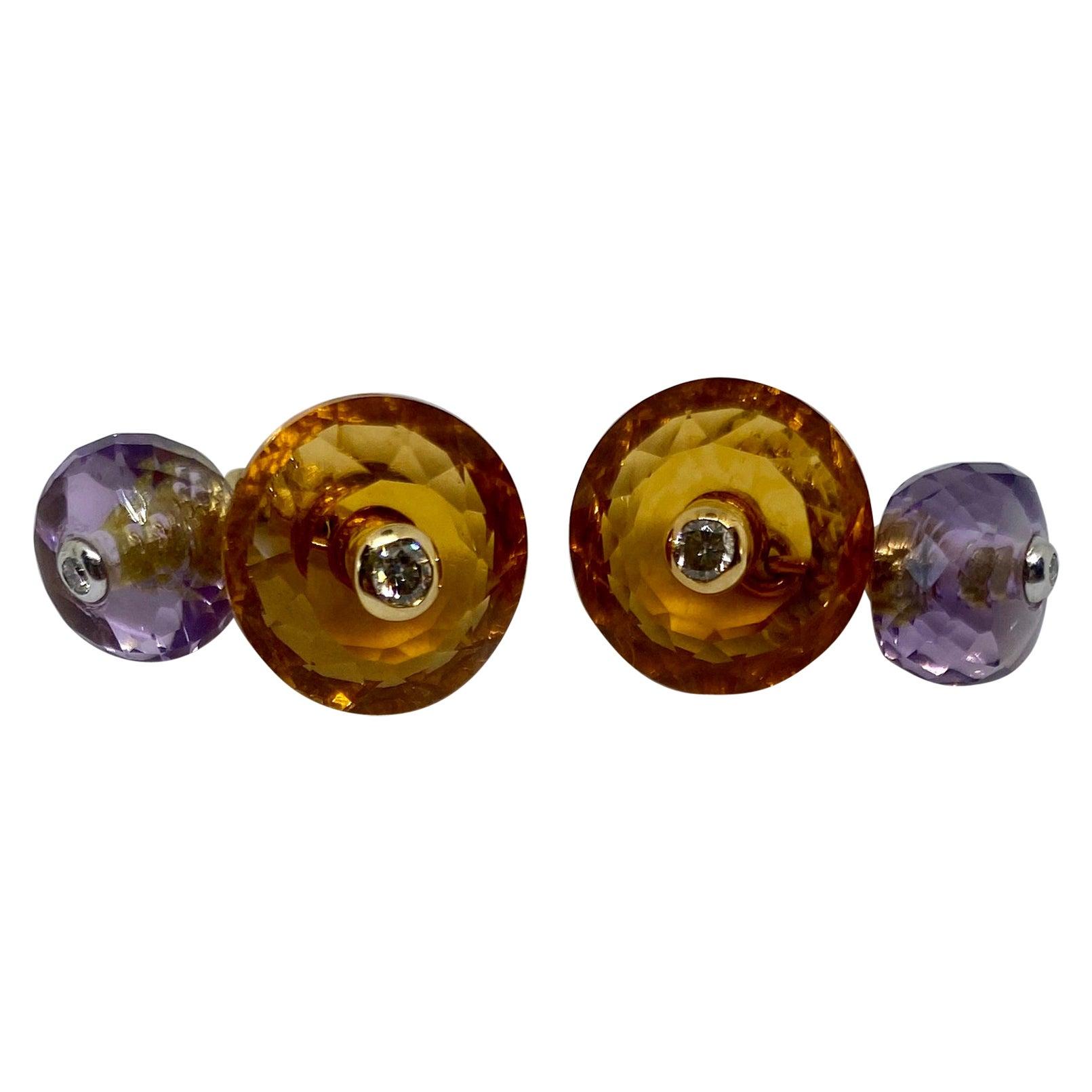 18 Karat Gold, Madera Citrine, Amethyst and Diamond Cufflinks