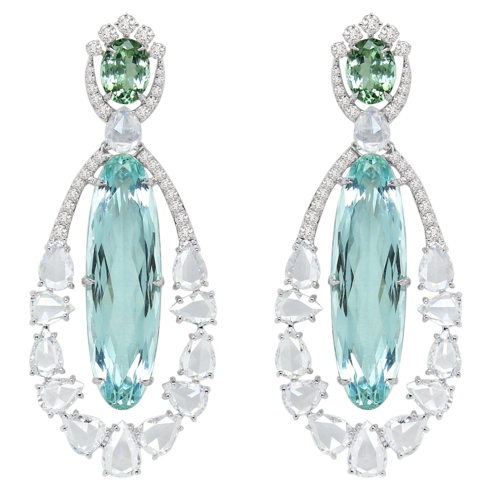 22.75 Carat Paraiba Tourmaline Diamond 18 Karat White Gold Earrings