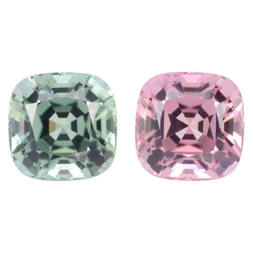 Pink Green Tourmaline Earrings Pair 10.49 Carat Loose Gems