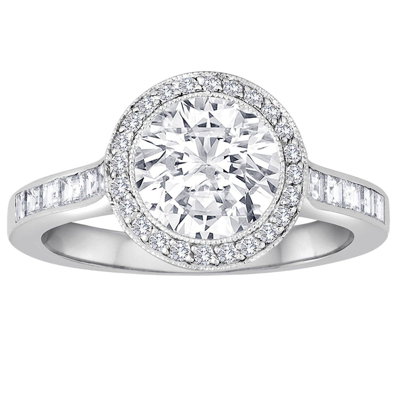Tiffany & Co. 1.67 Carat F VVS2 Diamond Platinum Ring