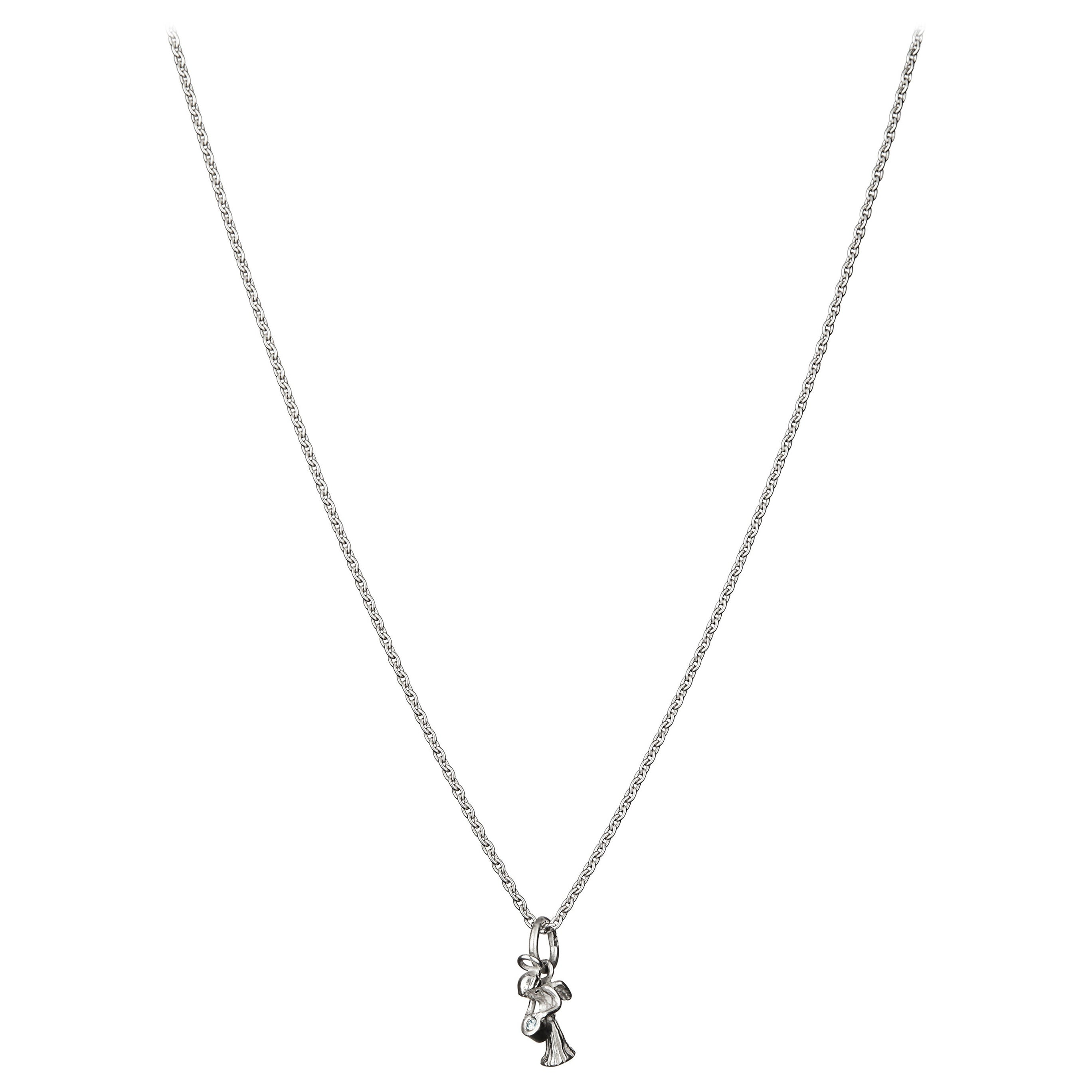 Guardian Angel Pendant with Chain Traceable Diamond 18k White Gold